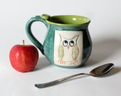 Back to School Mug, Colorful Owl Mug, Made to Order,  Holds 14 oz - MissPottery