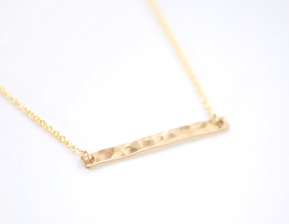 gold bar necklace hammered jewelry horizontal bar necklace