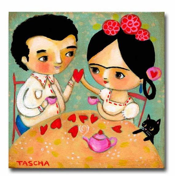 Original Acrylic Painting Frida And Diego Valentine Love With