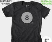 8th Eighth Birthday TShirt, Glow-in-the-Dark, Kids BIRTHDAY TShirt, Boy, Girl, 8th Birthday, Eighth Birthday, Kids Birthday Party Favor