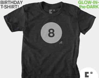 8th Eighth Birthday TShirt, Glow-in-the-Dark, Kids BIRTHDAY TShirt, Boy, Girl, 8th Birthday, Eighth Birthday, Kids Birthday Party Favor