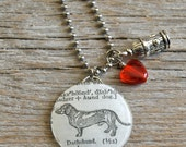 SALE - Dachshund Dog Pet Weiner Dog- Altered Vintage Glass Watch Crystal Pendant Necklace - Recycled Upcycled - Ready To Ship