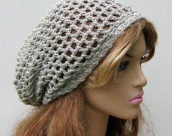 Hemp Wool Soy hat, light gray slouchy beanie, small dread tam hat, grey crochet beanie hat, women, men hat