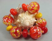 US Handmade Lampwork Glass Bead Set- Fire Storm - Orange Yellow Red Petal Beads