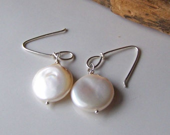 Etsy, Etsy Jewelr, Coin Pearls, Freshwater Pearls, Bridal Earrings, Pearls on Sterling Silver, Coin Pearl Earrings, Everyday Earrings