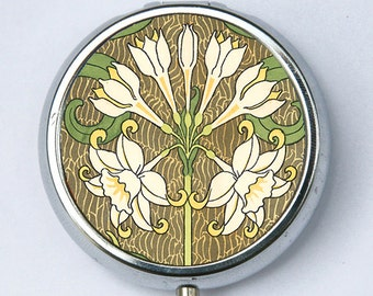 Art Nouveau Floral PiLL case pillbox pill holder flowers