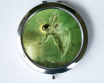 Fairy Compact Mirror Pocket Mirror Flying wand fairytale Kitsch art nouveau