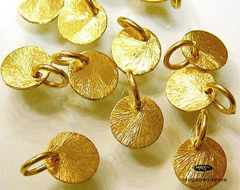 10 pcs 8mm Vermeil Gold Disc Charms Brushed Disc Top Drill Hole with Ring F163V