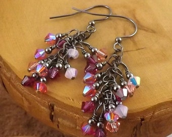 In The Pink multicolor gunmetal finish Swarovski Crystal cascade french hook earrings