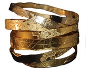 Hand Etched Gold Plated Brass and Copper Bangles - Set of 3- Free Shipping!