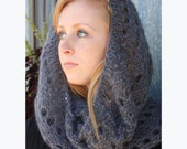 Gift for Her, Women's Knit Scarf, Infinity Hand-Knit Scarf with Sequins - Mohair and Silk Cowl Snood, Charcoal Grey