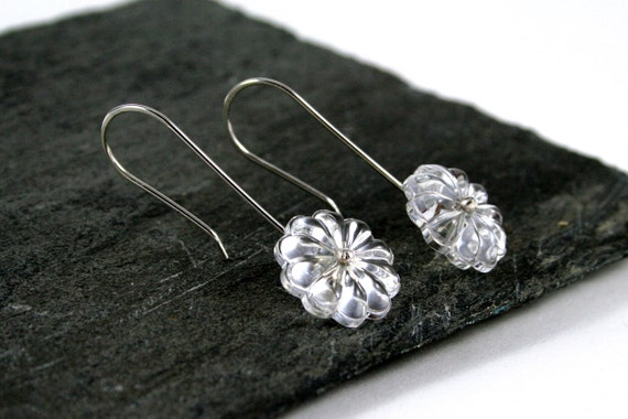 Vintage Chandelier Flower Crystal Sterling Silver Drop Earrings