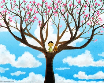 "Magnolia Painting, Meditation Art, Inspirational Art, Dog Artwork, Boys Room- ""Breathe In"""