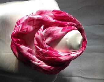 SALE - Pink-White Flamestitch Zig Zag Chevron Infinity Scarf