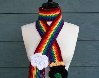 Crochet Scarf Pattern, St. Patricks, Rainbow Pot Of Gold