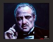 "Print 8x10"" - Don Vito Corleone - The Godfather Marlon Brando Mobs Mobster Gangster Mustache True Crime Guns Pop Art Dark Art Mafia"