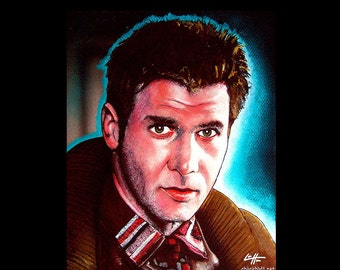 """Print 8x10"""" - Rick Deckard - Blade Runner Harrison Ford Science Fiction Pop Art Philip K Dick Sci Fi Android Los Angeles Robot Tyrell Corp"""