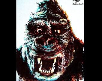 "Print 8x10"" - King Kong - Gorilla Classic Giant Adventure Animal 30s Vintage Godzilla Frankenstein Monster Creature Horror Dark Art Pop"