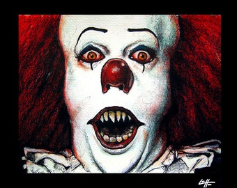 """Print 8x10"""" - Pennywise - IT Clown Stephen King Horror Fantasy Drama Comedy Classic Monster Creature Scary Halloween Serial Killer Pop Art"""
