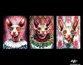 "Prints 5x7"" - Kats - Hairless Cat Sphynx Victorian Queen Animal Cute Kittie Dark Art Cute Gothic Edwardian Pop Art Creepy Red Gothic Red"