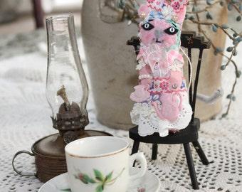 Loving Grandma Tea Cup Kitty Cat Quilty Critter - OOAK,  Novelty, Folk Art, Ornament, Mothers Day