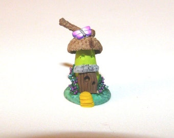 Whimsical Miniature Hand sculpted terrarium garden Lovely MiniatureTroll,Hobbit ,Fantasy gnome, elf, fairy house for miniature garden