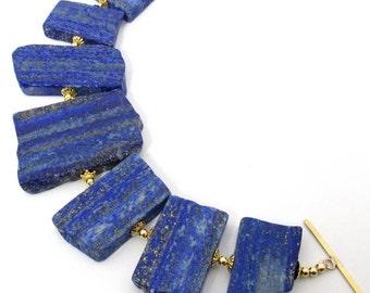 Lapis Lazuli Smooth Slab Gold Bracelet OOAK