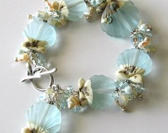 Lampwork Seashell Bracelet, Aqua, Sand, Freshwater Pearls, Glass Pearls, Crystals, Beach, Ocean, Made to Order, Beaded Bracelet