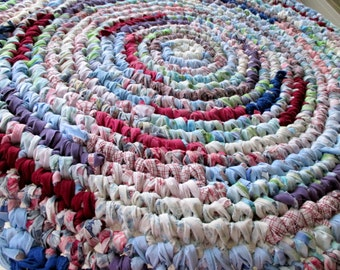 Rag Rug - Rustic Home Decor - Round Rug - Throw Rug - Country Home Decor - Cottage Chic - Housewarming Gift - Handmade - Shabby Chic