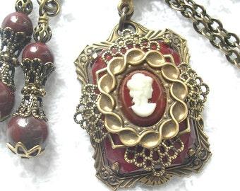 Carnelian and Cameo Pendant and Earring Set - Layered Filigree