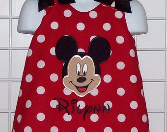 Red Dot Mickey Mouse Face Applique with Monogram A-line Dress Mickey Minnie Birthday Party