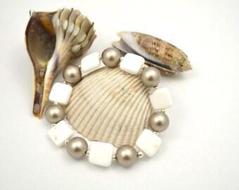 White Agate Bracelet, Semi Precious Bracelet, Semiprecious, Gemstone, White Bead Bracelet, Chunky, Stone Jewelry, Swarovski Glass Pearls