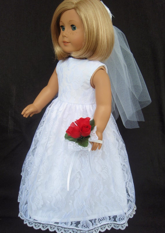 American girl doll clothes lace overlay wedding gown dress for American girl wedding dress