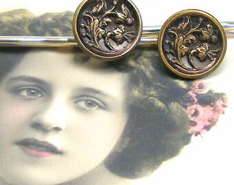 Antique BUTTON hair pins, Victorian FLOWERS on silver bobby pins, hair grips, present gift.