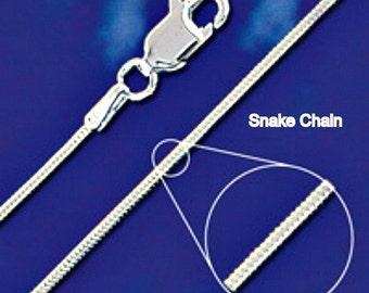7 Inch Sterling Silver Snake Chain Bracelet 1mm Style no. 23107