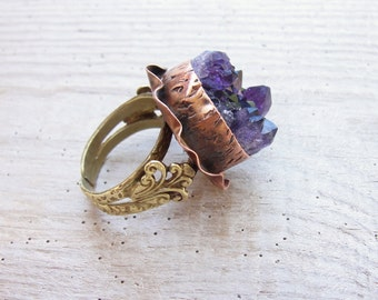 Druzy Amethyst Ring Hand formed Copper and Bronze Statement jewelry