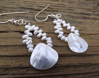 Gorgeous bridal earrings made with Mother of Pearl and white freash water pearls feminine unique