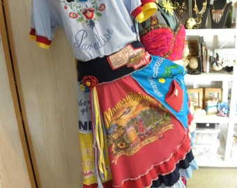 "ReCreated ReCycled T-Shirt ""Memory Quilt"" DRESS (Special Order) Your old Special Tees: Travel, Vacation, Sports, Bars, Restaurants, etc."