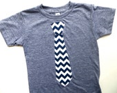 Christmas Navy Boys or men Tie Applique Shirt Short Sleeve T Shirt Kids- Chevron Fabric