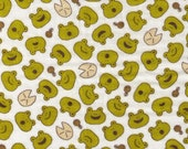 HALF YARD Green Frogs on Natural Cream - Lily Pads, Tadpoles, Happy Toad - Double Gauze - Cosmo Textile From Japan