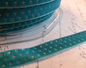 3/8 inch Teal Blue with Metallic Gold Dots Velvet Ribbon