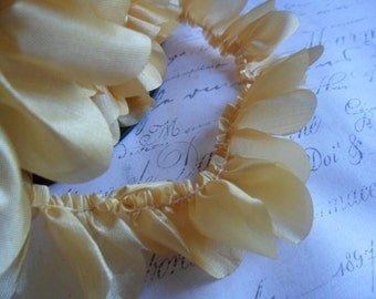Scalloped Butterscotch  Pleat Silky Ruffle Trim 3/4 inch