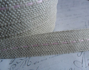 Natural Burlap woven Ribbon with Pink Running Stitch 5/8 wide