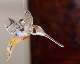 Hanging Glass Hummingbird Hand Sculpted by Jenn Goodale