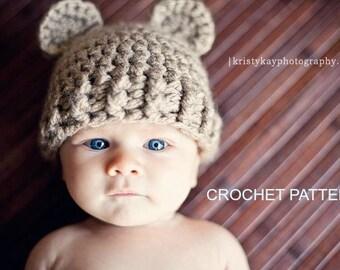 Instant Download, Crochet PATTERN PDF - Teddy Bear Hat, Crochet Baby Hat, 3 sizes included