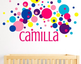 Personalized Name Wall Decal with Confetti Dots Decals - Child's Name Wall Decal - Wall Decal - Teen Girl Decals - Baby Name Decal - ND18