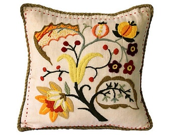 Botanical Crewel Pillow - Leaves and Flowers - Fall - Orange Green Red Gold - Autumn - Decor Pillow