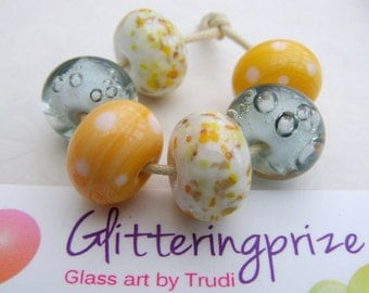 Lampwork Glass Beads Sunshine On A Cloudy Day