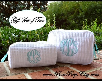 Personalized Cosmetic Bag Gift Set of 1 Large and 1 Small Size Bags-  Two Monogrammed makeup bags, bridesmaids cosmetic, monogram toiletries
