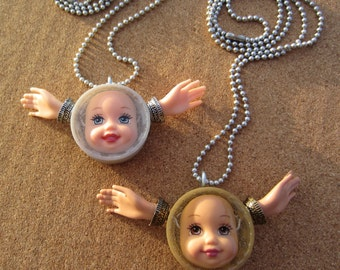 Gold Angel Doll Face Pendant